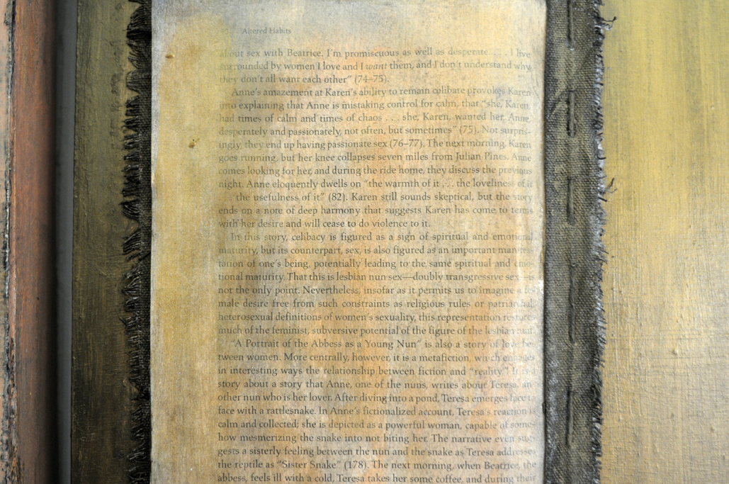 Untitled (diptych with sown pages) mixed media 24x22 2011 (detail)