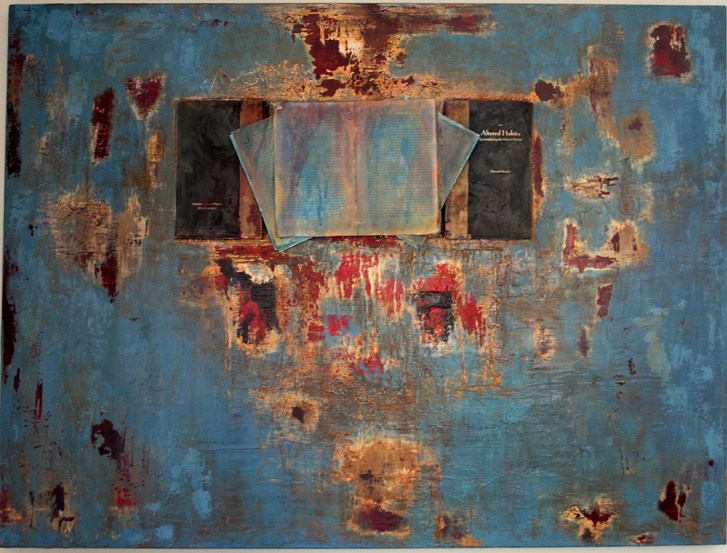 Untitled (Blue) mixed media 36x48 2011