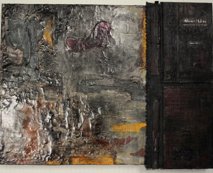 Untitled (with book cover) mixed media 18x24 2011